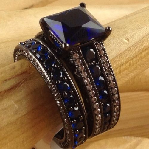 Exotic 14K Black Gold Filled Blue Sapphire Bridal Engagment Ring Wedding Band Set LMJ 001|We combine shipping|No Question Refunds|Bid $60 for free shipping. Starting at $1