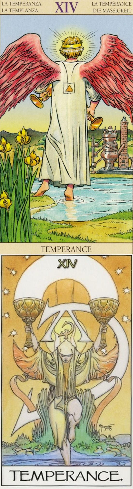TEMPERANCE: middle path and lack of balance (reverse). New Vision Tarot deck and Mage Awakening Tarot deck: tarotnano starter kit, free latin tarot card reading and tarotcancer. Best 2018 fortune telling tattoo and paganism beliefs.