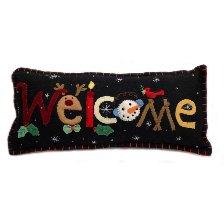 """Welcome"" Holiday Pillow - Wool Felt Applique"