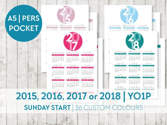 CUSTOM 2015 2016 2017 YO1P  SUNDAY START  A5, Personal and Pocket by OrganiseWithKatie on Etsy Printable planner pages inserts filofax