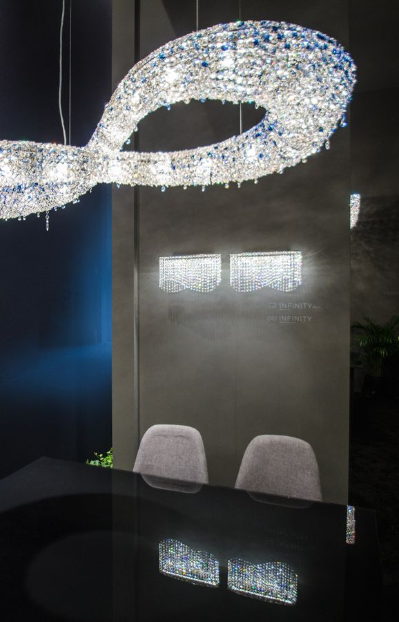 Infinity crystal chandelier - Its never ending loops awake the power of the infinity and symbolize eternity, empowerment, and everlasting positiveness. #crystalchandelier #crystal #luxury #lighting #design #interior #inspiration #luxuryfurniture #Manooi