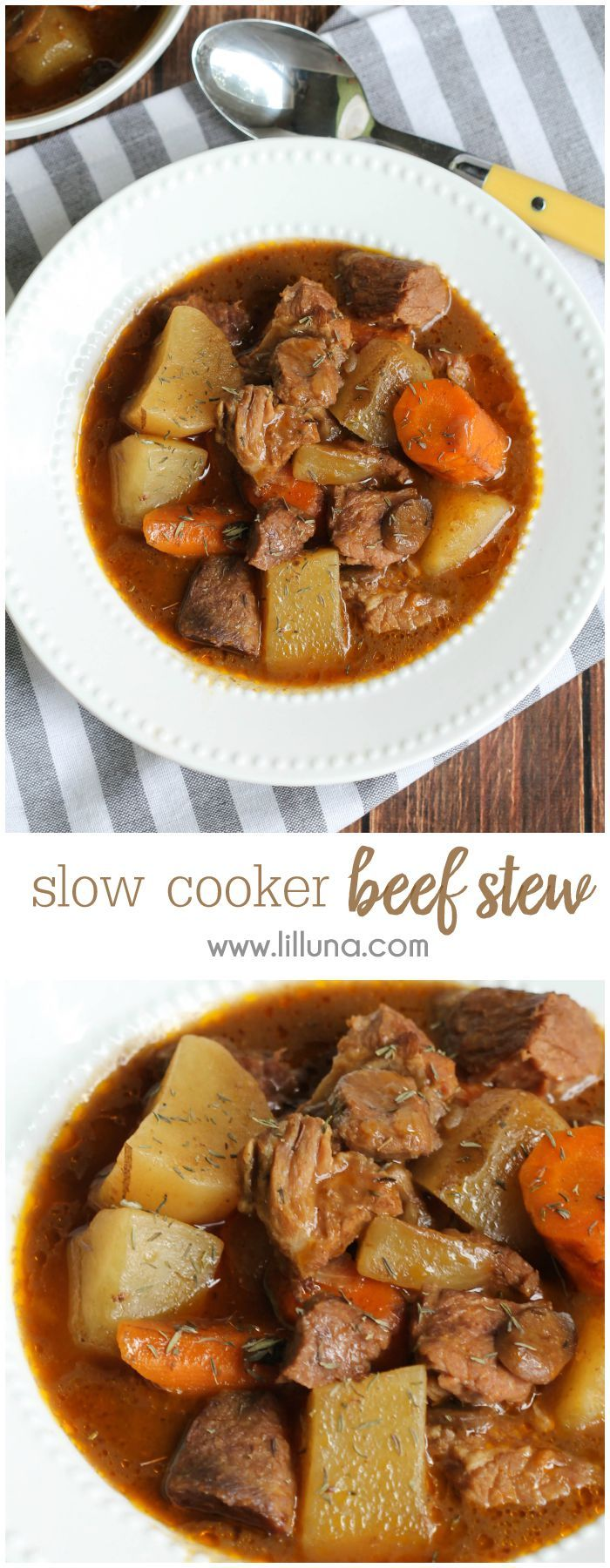 DELICIOUS Slow Cooker Beef Stew - it's a family favorite that we've enjoyed for years!! Get the recipe on { lilluna.com } #stew