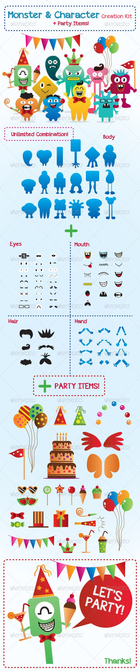 Monster and Character Creation Kit with Party Items  #GraphicRiver         Create your own Characters, Monsters and alien!  	 For all your needs, such as : Logos, Icons, Mascot, Illustrations, T-shirt designs, poster, children's books, birthday's card and more! You can obtain millions of combinations of monster shapes that you want. Very easy to edit, change colors and size.