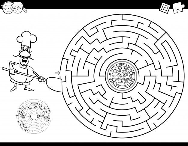 Maze Color Book With Chef And Pizza Black And White Cartoon Coloring Books Cartoon Illustration