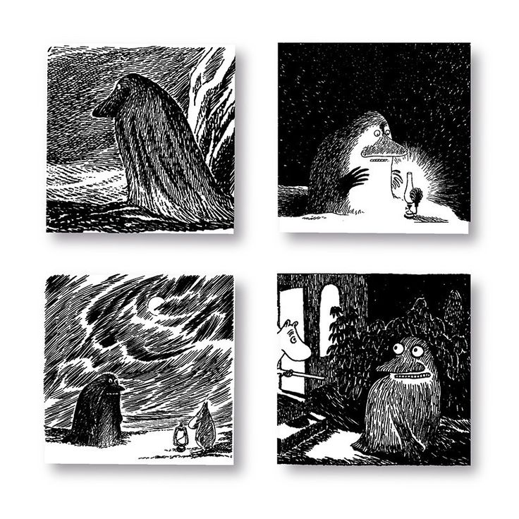 Beautiful handmade coasters with classic motif taken from Tove Jansson's original drawings featuring the Groke. High quality wood, made in Sweden.4 pieces.Size: 9 x 9 cm.