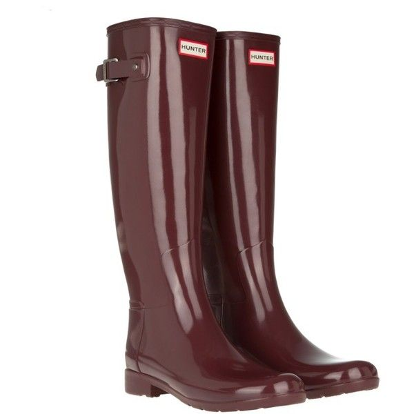 Hunter Women's Original Refined Glossy Rubber Boots Dulse in magenta,... ($155) ❤ liked on Polyvore featuring shoes, boots, knee-high boots, magenta, hunter boots, rubber boots, knee high rain boots, flat buckle boots and wellington boots