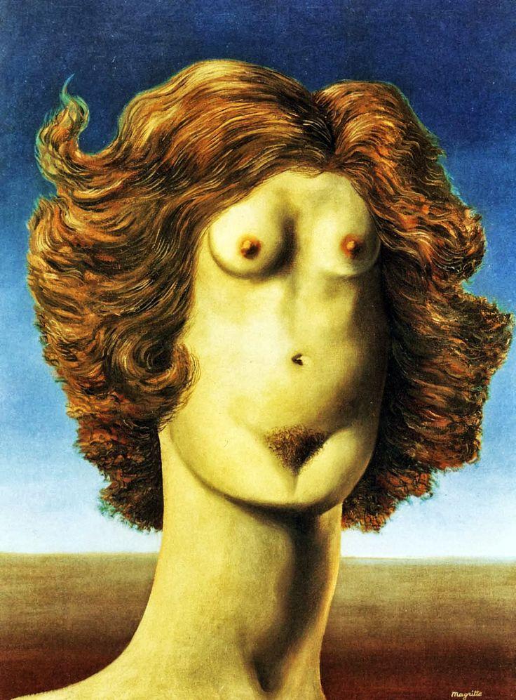 Baubô, déesse des rires obscènes, est souvent représentée par un corps sans tête, posé sur une paire de jambes, des yeux dessinés à la place des seins et la bouche se confondant avec la vulve, des bras en guise d'oreilles et une chevelure abondante.
