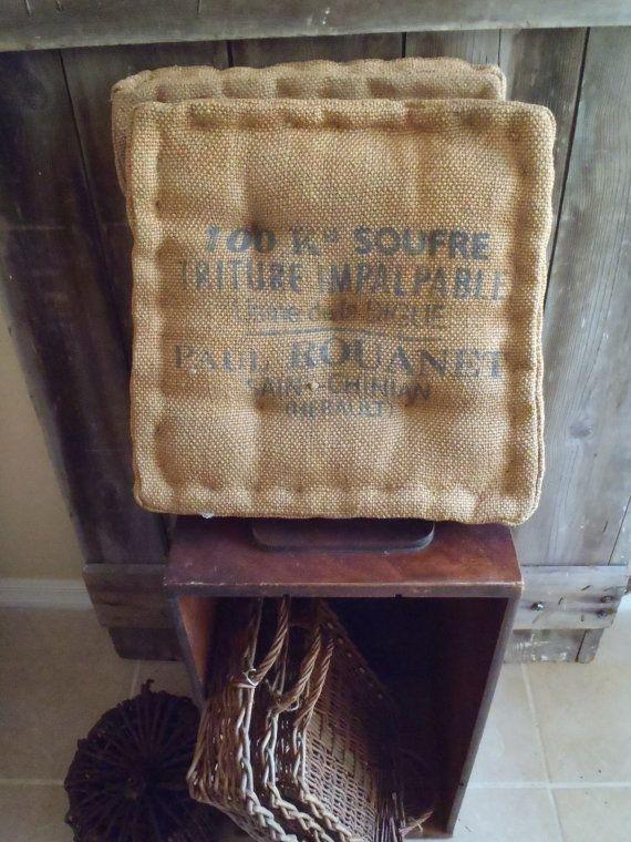 French Jute Burlap Tufted Chair Cushions