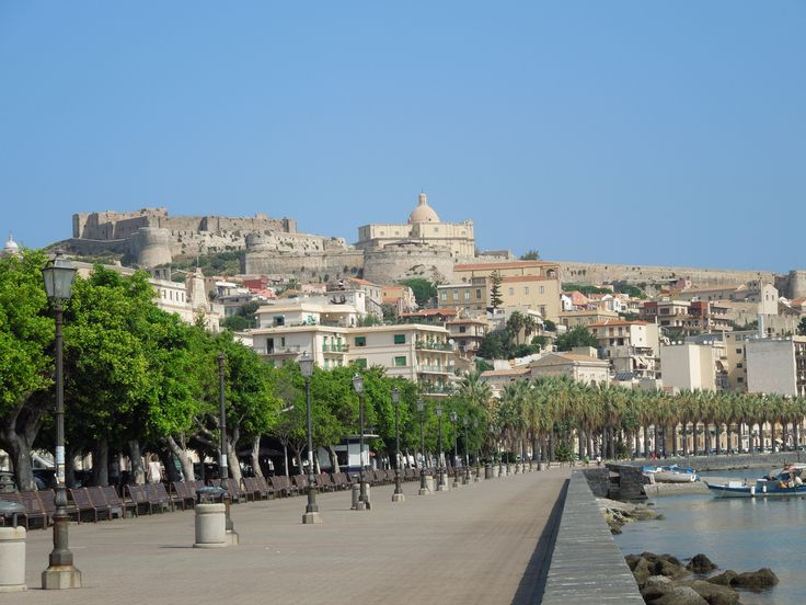 Waterfront and castle at Milazzo, Sicily.