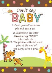 Rainforest Jungle Baby Shower DON'T SAY BABY Games