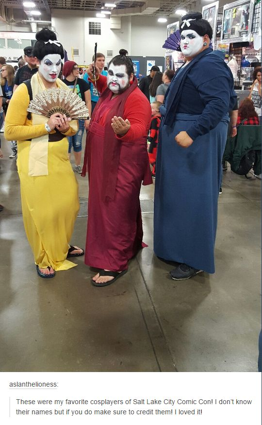 Ling, Chien-Po and Yao from Mulan cosplay. On point, gentlemen. On point.