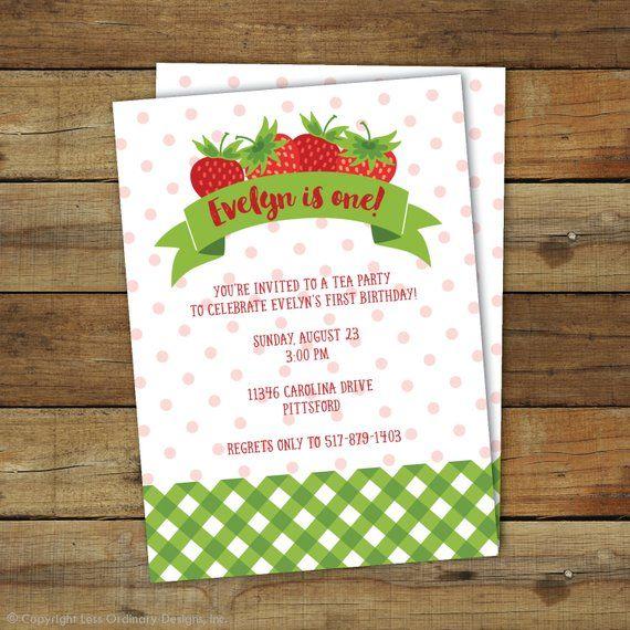 strawberry birthday invitation - 570×570
