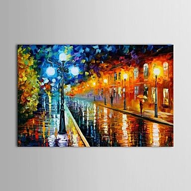 Hand Painted Oil Painting Landscape Paris Street Knife Painting with Stretched Frame