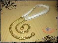 Tracolla bianca,cm 85, tulle bianco, catena oro o argento