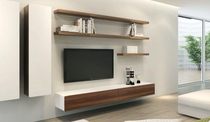 Ikon White + Walnut Floating TV Unit - 220cm