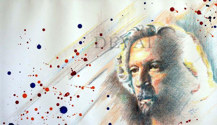 Grafik:Alex Devai Color Pencil, aquarell Eric Clapton