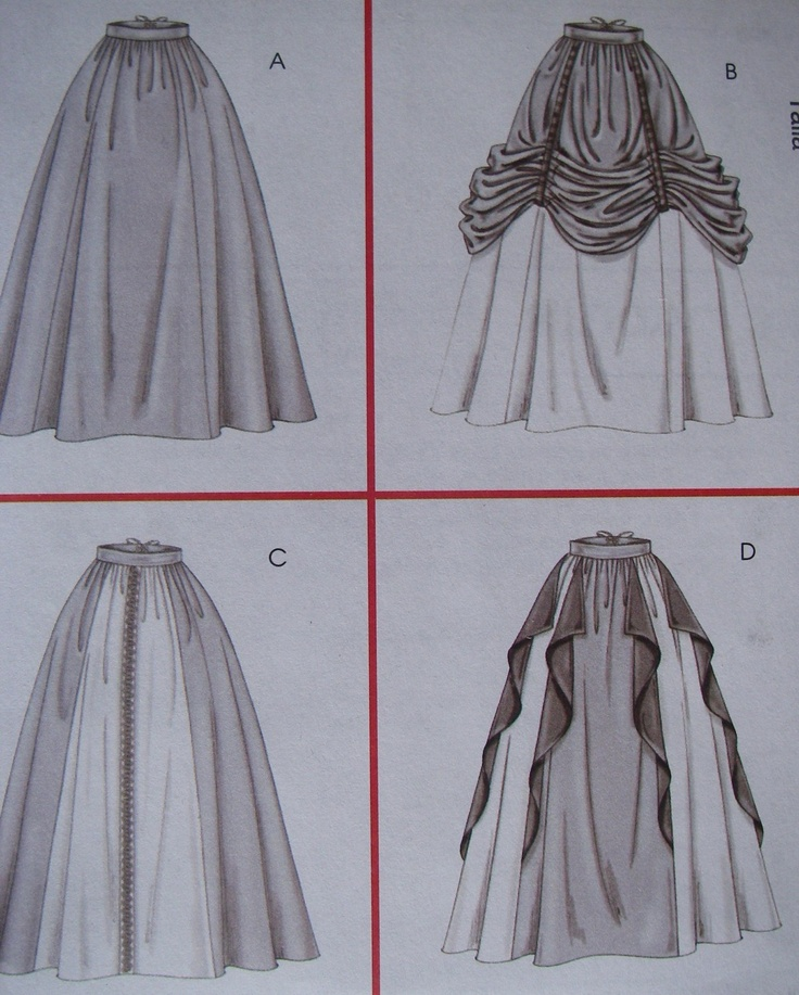 Four Renaissance Skirts and Overskirt pattern - Back Lacing - McCall's M4090 Size 10 12 14 16. $6.50, via Etsy.