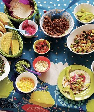 How to Set Up a Family-Friendly Taco Bar | Host a DIY buffet with kid favorites and adult-friendly fixings. You can warm both soft tortillas (wrapped in foil) and hard shells in a 350° F oven for 4 to 5 minutes. Then stuff them with these fresh and colorful fillings.