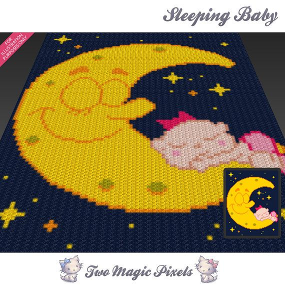 Sleeping Baby c2c graph crochet pattern; instant PDF download; baby blanket…