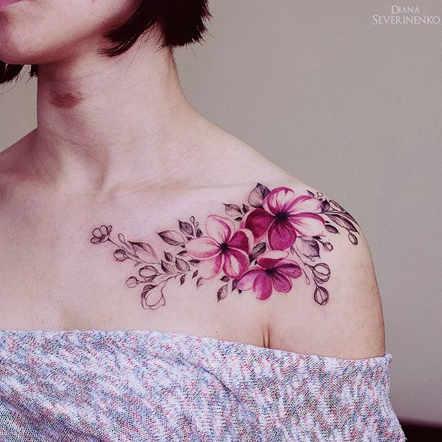 pink flowers watercolor tattoo by dianaseverinenko