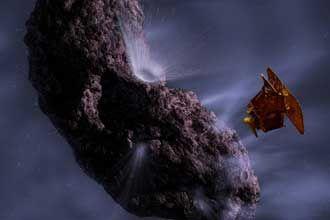 Mission: Deep Impact -- NASA studies comets [artist's concept of Deep Impact encountering comet Tempel 1]