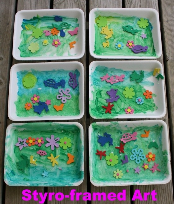 Crafts with styrofoam meat trays need paint then dry for Best glue for craft foam