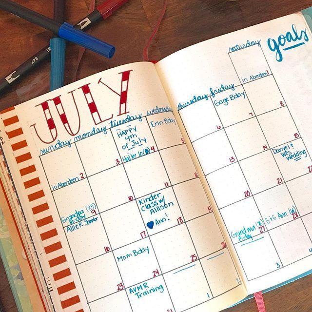 July calendar spread #bujojunkies #bujo #bujojunkie #bulletjournaljunkies #bulletjournal #bulletjournalcommunity #tn #travelersnotebook #monthlyspread #july #tombow #tombowdualbrushpens #confessionsofthedisorganized    #Regram via @ajthejournaljunkie