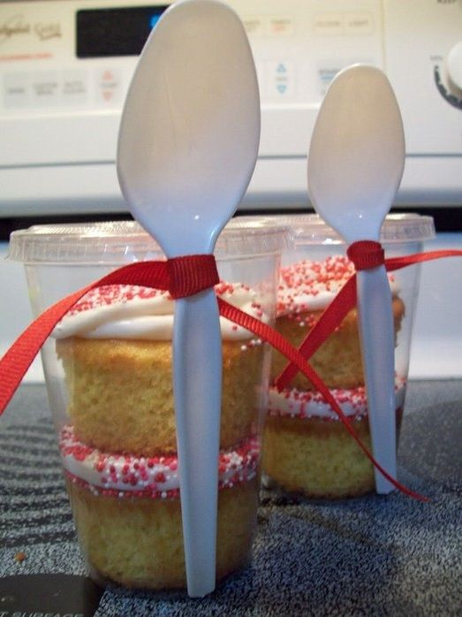 Cupcakes in a Cup!!  Easy and packaged ready-to-go for whatever occasion - complete with spoon!