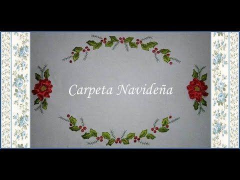 ♥ Como bordar en cintas una carpeta navideña ♥