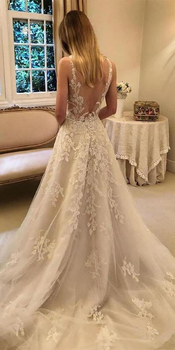 A-LINE VINTAGE RUSTIC WEDDING DRESSES V NECK BEADED LACE BRIDAL GOWN WD351 #wedd…