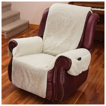 Recliner Chair Cover w/Armrests and Pockets Natural - One Size Fits Most