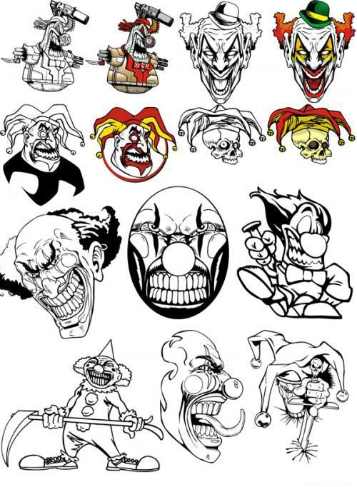 Evil Clown tattoo designs...I once considered getting one of these.