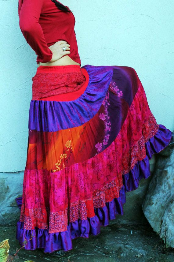 Crazy romantic wide long skirt gypsy boho recycled by jamfashion, $89.00