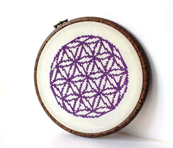 Modern Cross stitch pattern - Flower of Life, Geometric cross stitch pattern. Silhouette one color pattern, Cross Stitch PDF. This PDF counted cross
