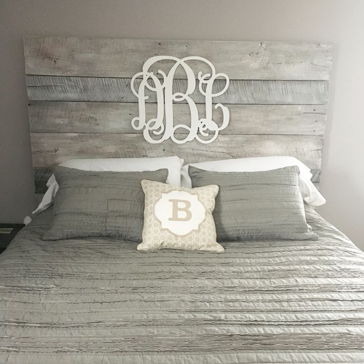 White washed barnwood headboard with gray accents