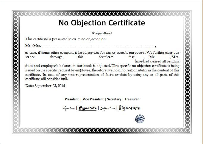 No Objection Certificate Template DOWNLOAD At Http://www.bizworksheets.com/
