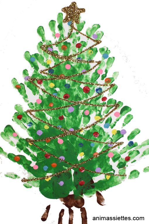 Les mains représentent les branches du sapin. Avec le bout d'un doigt, faites des lumières de toutes les couleurs! Pour ternimer quand tout est sec, pouquoi ne pas rajouter des paillettes et une étoile au sommet!