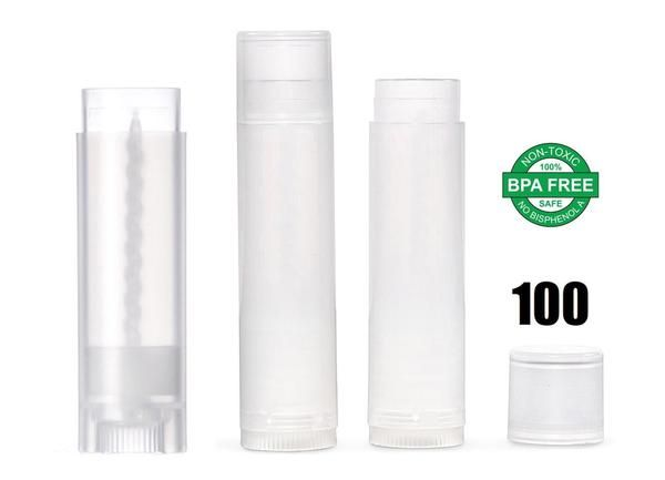 Lip Balm Stick Tubes Kit - Cosmetic Containers Lip Balm - BPA Free Empty Clear Lip Balm Tubes (100 Tubes, Clear) for DIY Lip Balm Kit