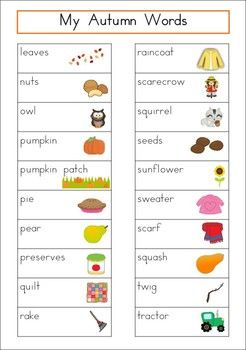 Autumn/Fall Word Wall (82 words). Includes a personal word wall for students, a file-folder word wall for the writing/word work center and big cards for the classroom wall. In color and black and white.