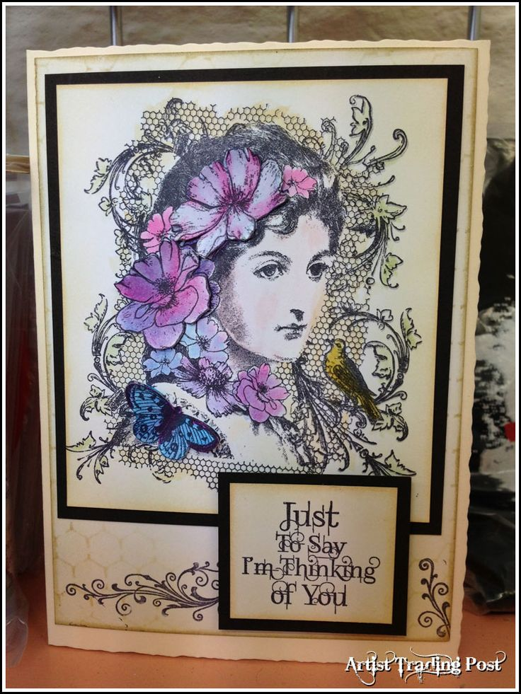 A card made using Indigo Blu's Elizabeth Bennet stamp - http://www.artisttradingpost.com/elizabeth-bennet---mounted-a6-10702-p.asp