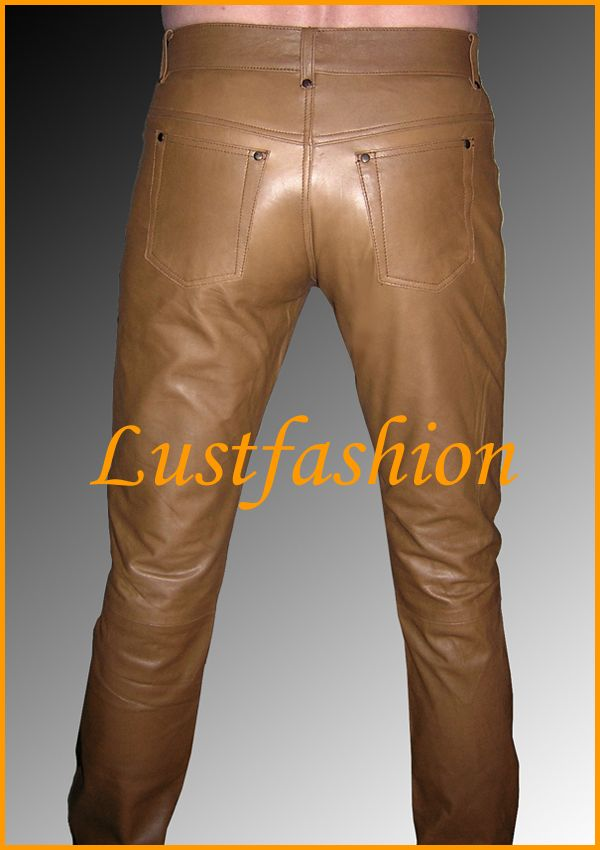 Mens Leather Pants Brown Leather Trousers Jeans Leder   eBay