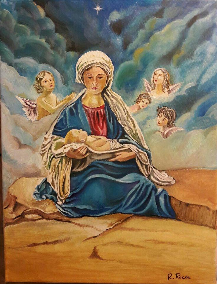 Madonna con bambino Gesù. .olio su tela 30x40