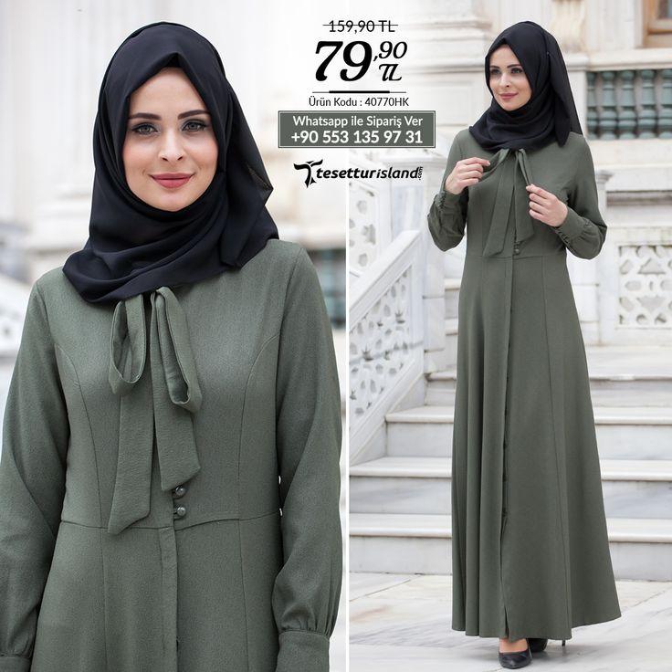 Neva Style - Düğmeli Haki Elbise #tesettur #tesetturabiye #tesetturgiyim #tesetturelbise #tesetturabiyeelbise #kapalıgiyim #kapalıabiyemodelleri #şıktesetturabiyeelbise #kışlıkgiyim #tunik #tesetturtunik