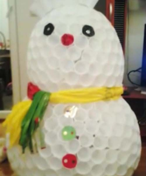 Snowman of cups tutorial how to make a snowman out of for Snowman made out of cups