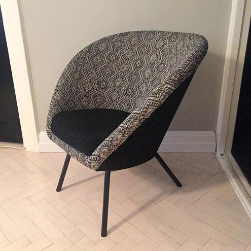 Uniikki uudelleen verhoiltu 50-luvun nojatuoli