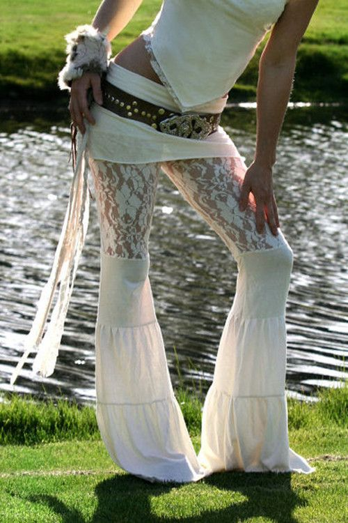 Elven Forest Lace Zumi Pants in Cream – Festival Fire Fashion