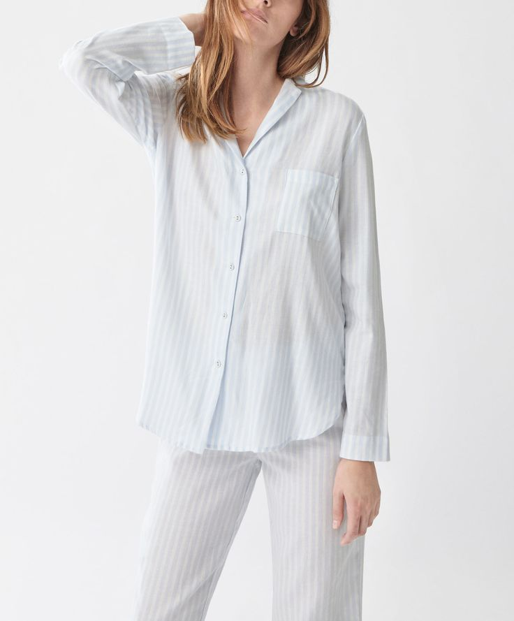 Shirt with blue stripes - New In - SLEEP | Oysho