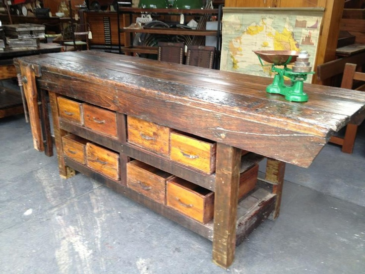 Heavy wooden work bench or counter top with crate storage