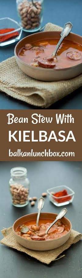 Balkan Bean Stew with Kielbasa recipe   recept za grah   recept za pasulj sa kobasicom   a hearty stew   bean stew   bean soup   bean stew how to   bean kielbasa   kielbasa stew   eastern European stew   kako se pravi grah pasulj  