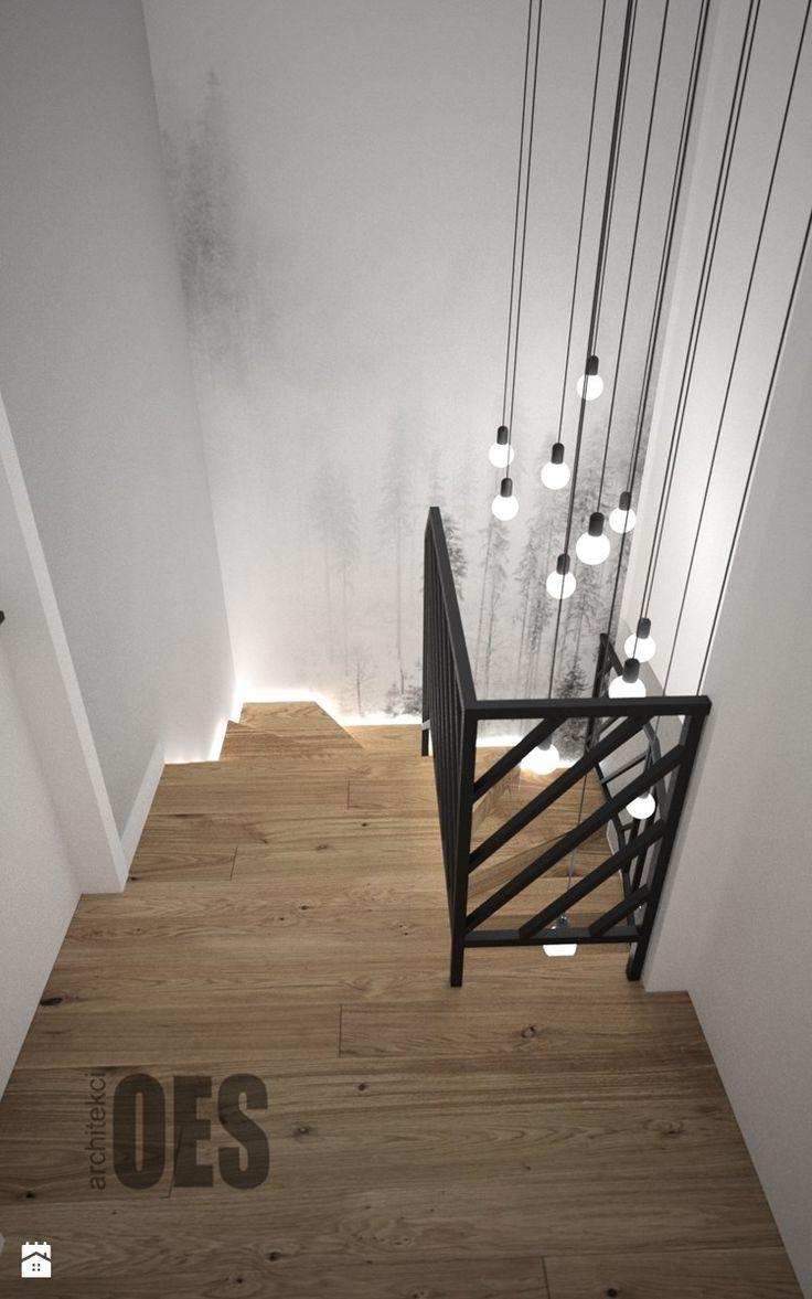 Aranżacje wnętrz - Schody: Biało szary przedpokój - Małe średnie wąskie schody dwubiegowe zabiegowe drewniane, styl skandynawski - OES architekci. Przeglądaj, dodawaj i zapisuj najlepsze zdjęcia, pomysły i inspiracje designerskie. W bazie mamy już prawie milion fotografii!